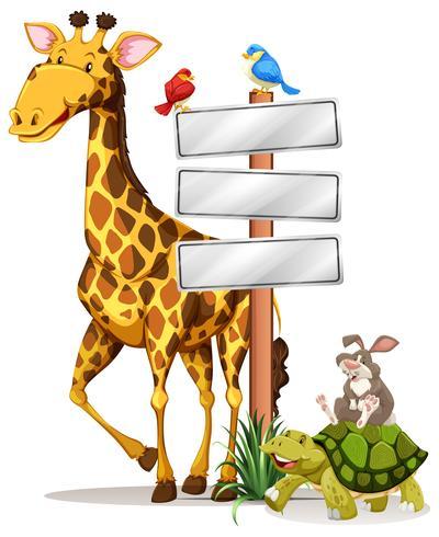 Girafe et autres animaux par le signe vecteur