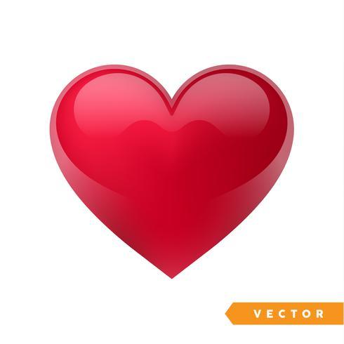 Coeur rouge réaliste de la Saint-Valentin. Illustration vectorielle