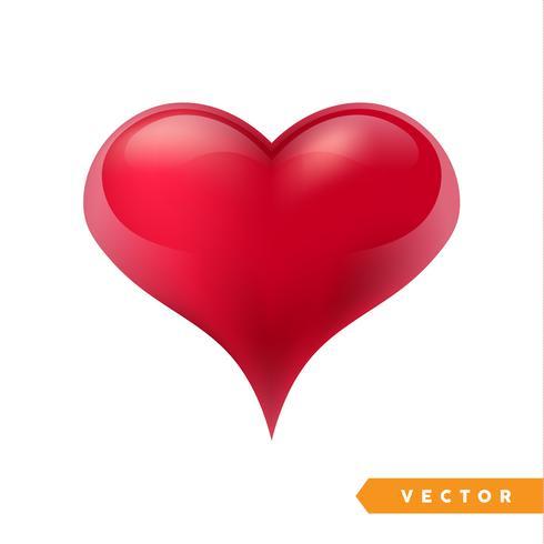 Realistico cuore rosso San Valentino. Illustrazione vettoriale