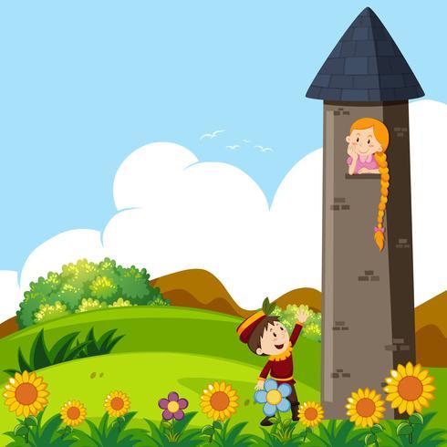 Príncipe e princesa na torre