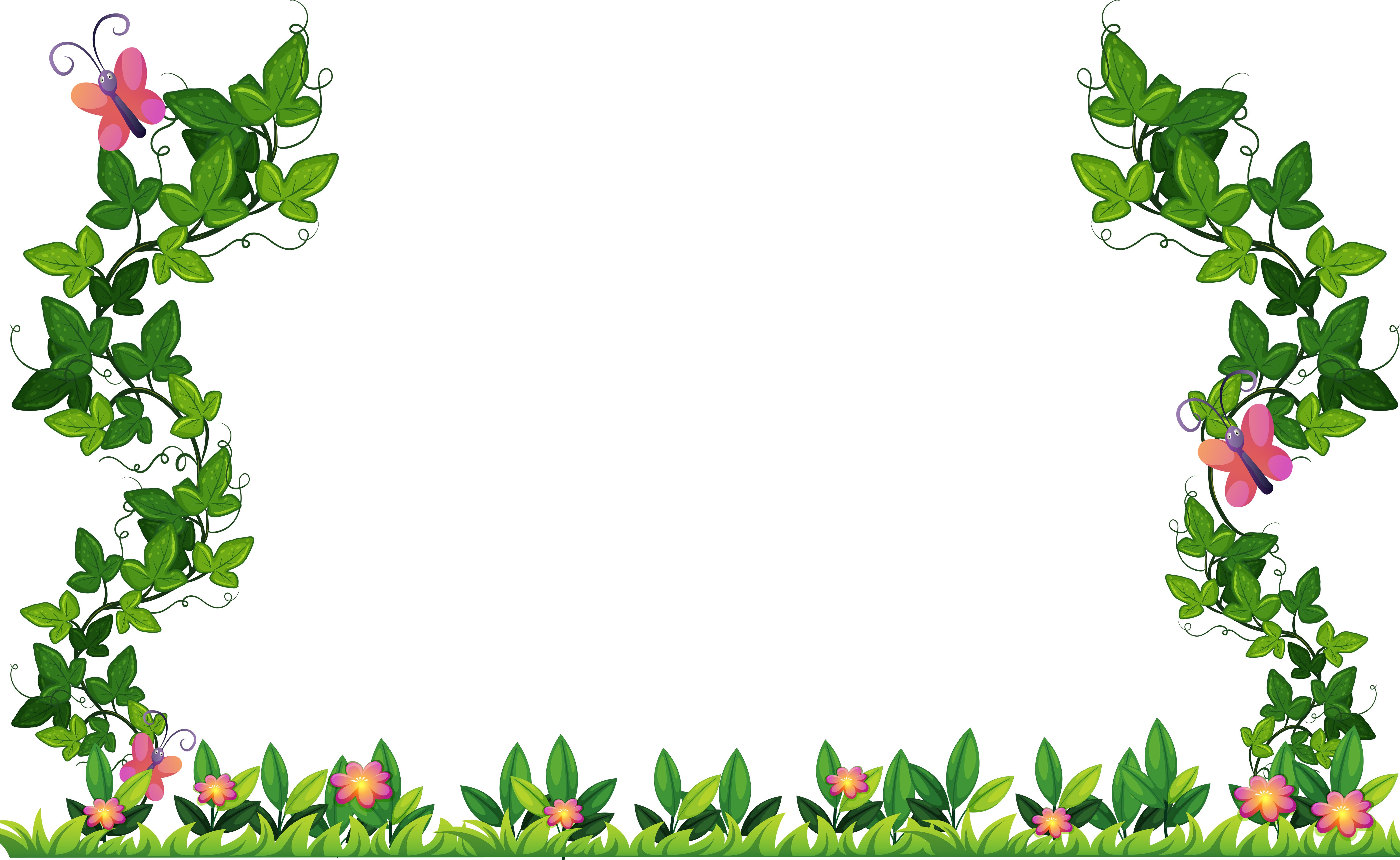 Border design with vine and butterflies - Download Free ...