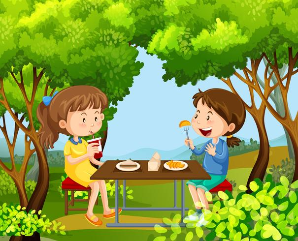 Duas meninas, tendo piquenique, em, a, madeiras