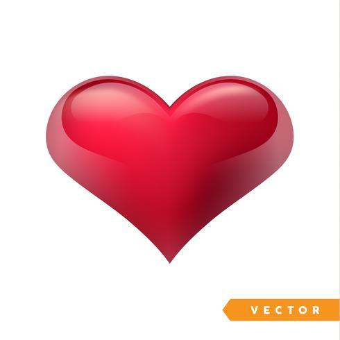 Corazón rojo realista de San Valentín. Ilustración vectorial