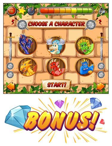Plantilla de juego de ordenador con dragones como personajes del juego.