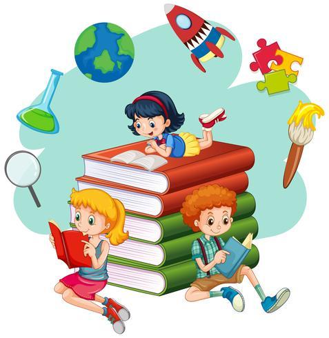 Tre bambini che leggono libri