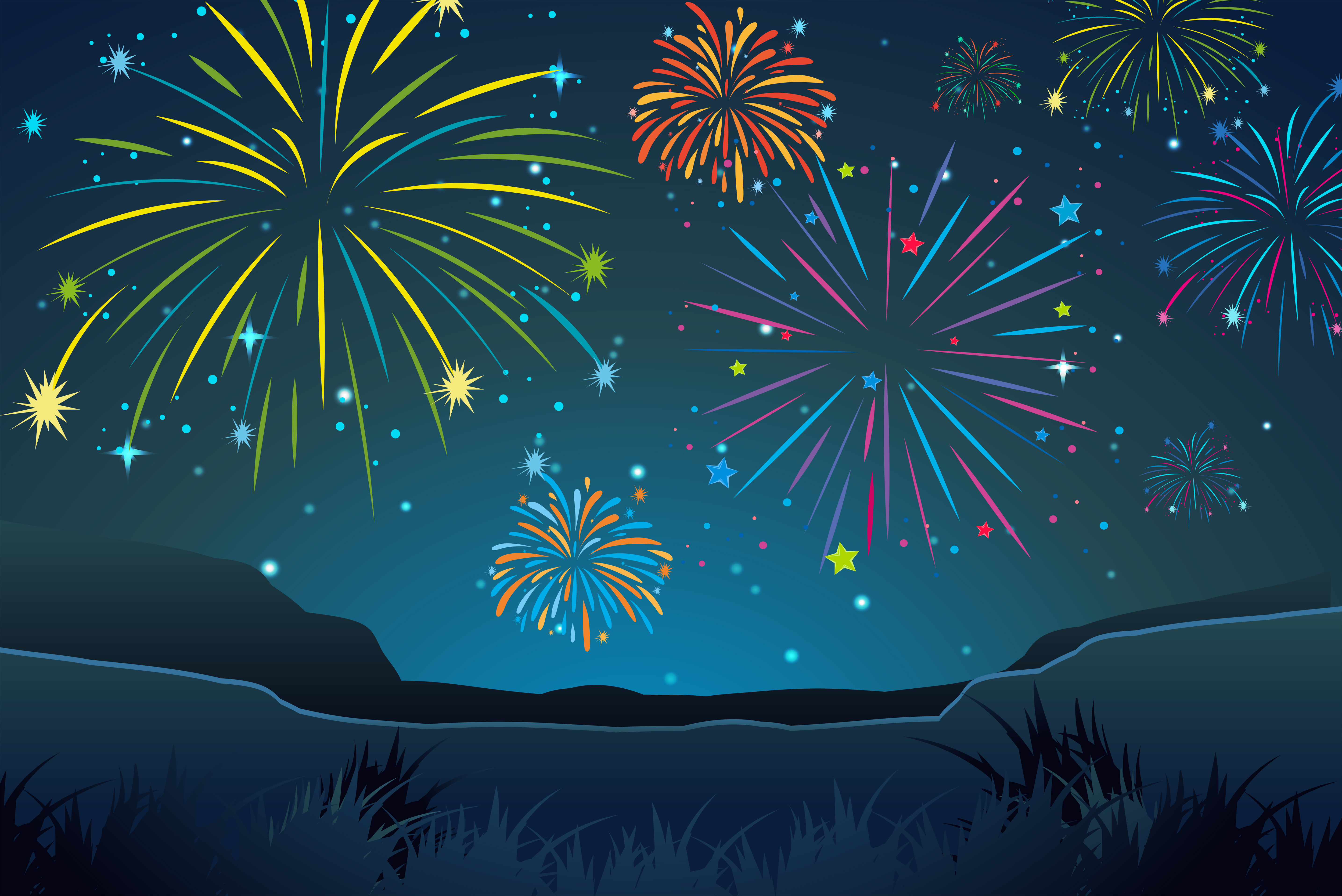 Night Scene With Fireworks In Sky Download Free Vectors
