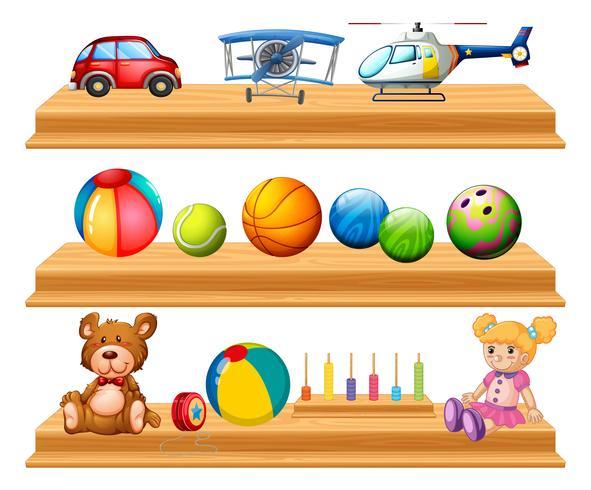 Verschiedene Arten von Bällen und Spielzeug in Regalen