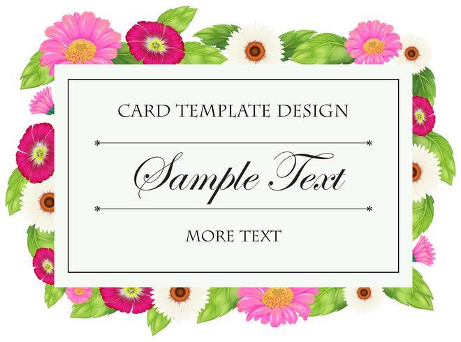 Modelo de cartão com flores rosa e brancas
