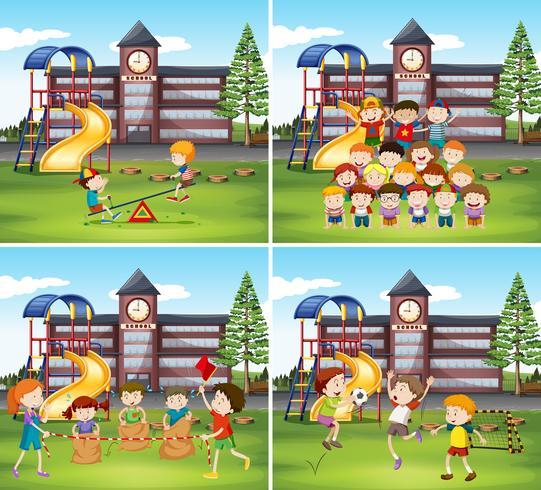 Niños jugando en la escuela.