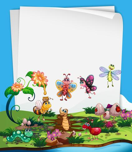 Paper template with insects in garden