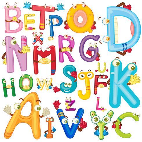Alphabet anglais avec des visages