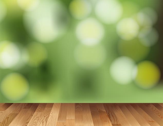 Bakgrundsmall med trägolv och grönt ljus