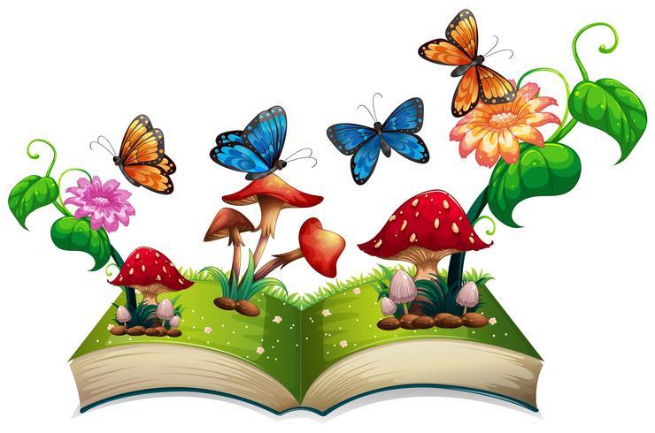 Libro de mariposas y setas.
