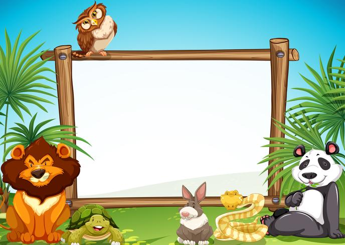 Border templae with wild animals in background