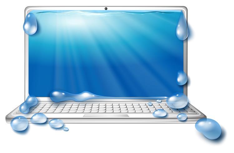 Dator bärbar dator och ocean scen på skärmen