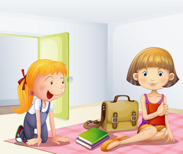 De twee meisjes in een kamer met boeken vector