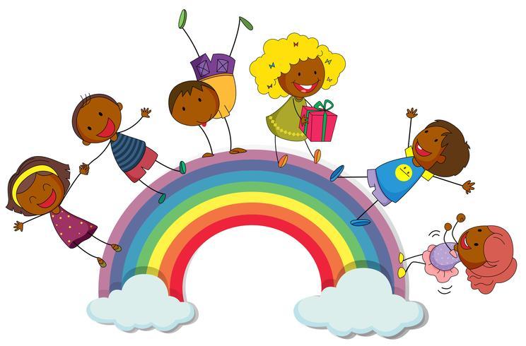 Bambini felici in piedi sull'arcobaleno