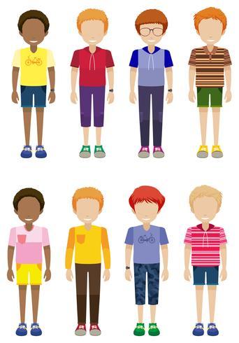 Oito crianças sem rosto em pé
