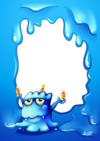 Ein blauer Grenzentwurf mit einem Monster, das Kerzen hält