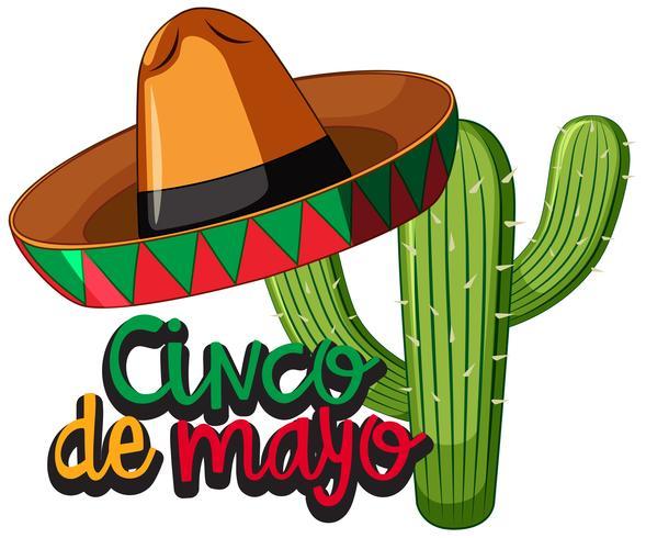 Festival del Cinco de Mayo con cactus y sombrero.