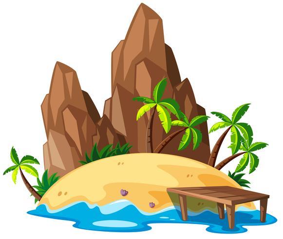 Scen med ö och hav