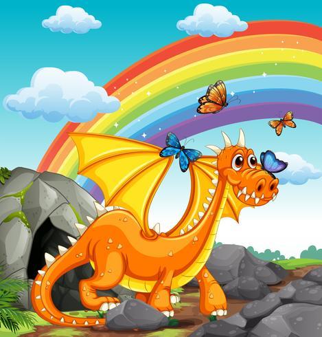 Dragón y arcoiris vector