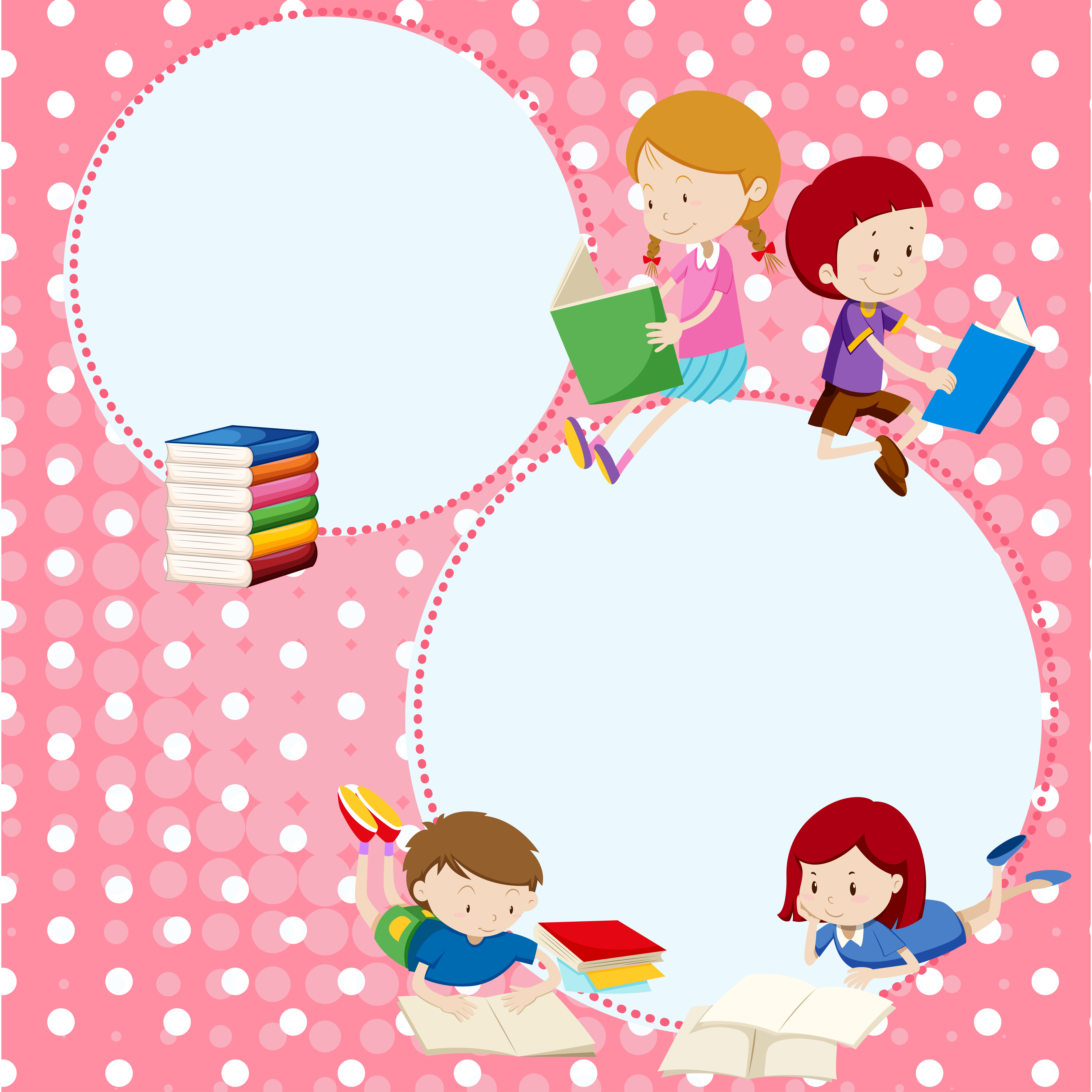 Border template with many children reading books ...