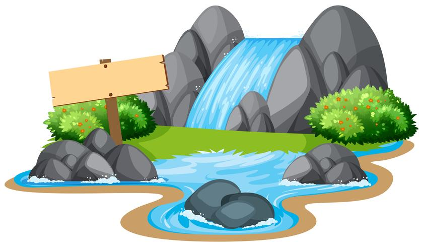 Cena, com, cachoeira, e, rio vetor