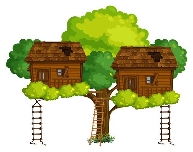 Two treehouses on the tree vector