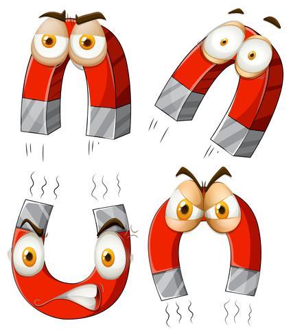 Magnete con espressioni facciali vettore