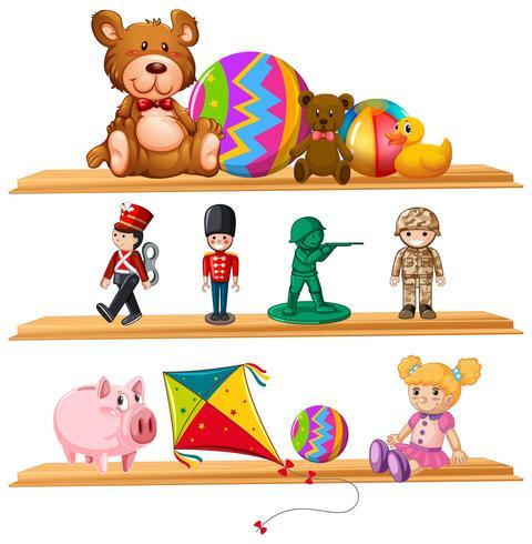 Bonitos brinquedos nas prateleiras de madeira