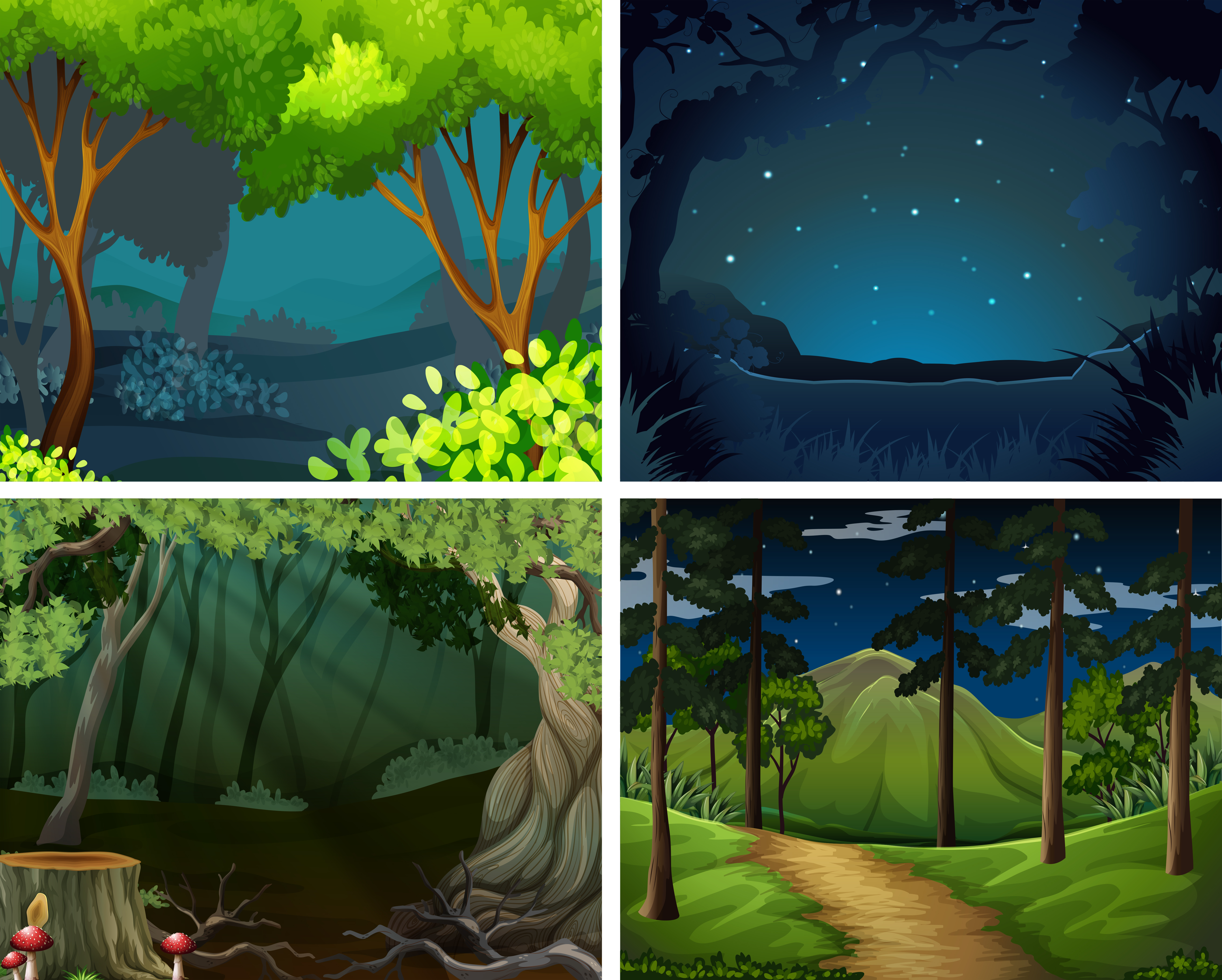 Four Scenes Of Forest At Night Download Free Vectors