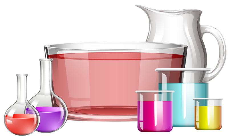 Different science beakers with liquid vector