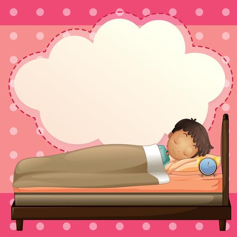 A boy sleeping with an empty callout template vector