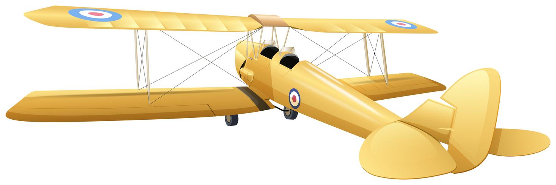 Vecchio design dell'aeroplano in colore giallo vettore