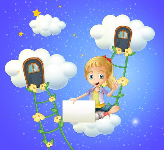 Une fille assise sur un nuage tenant un affichage vide vecteur