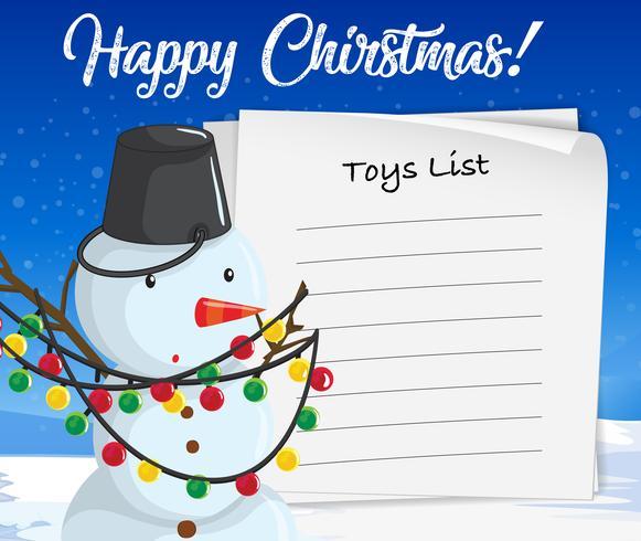 Joyeux Noël liste de jouets bonhomme de neige concept