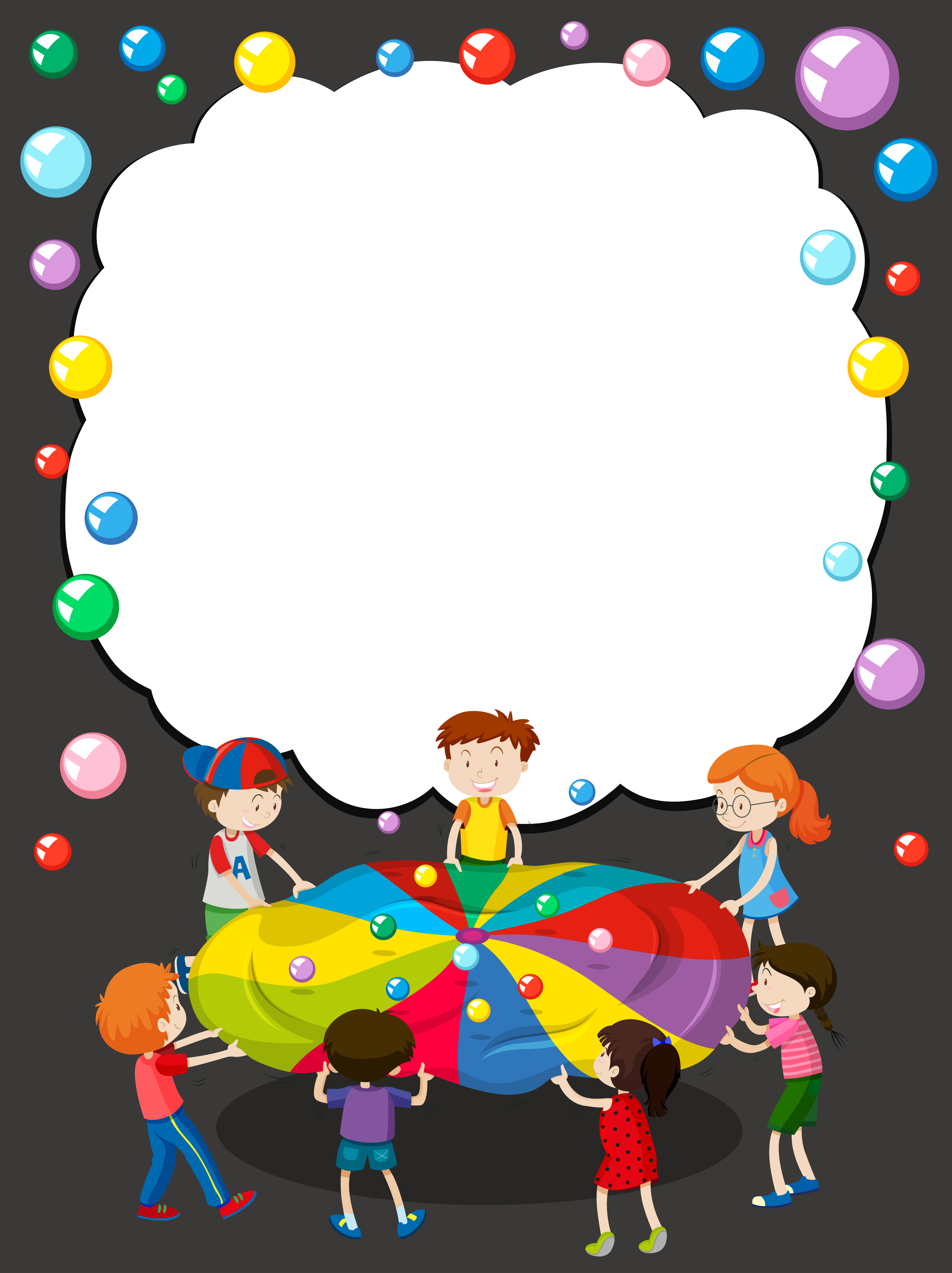 Border template with children playing ball - Download Free ...