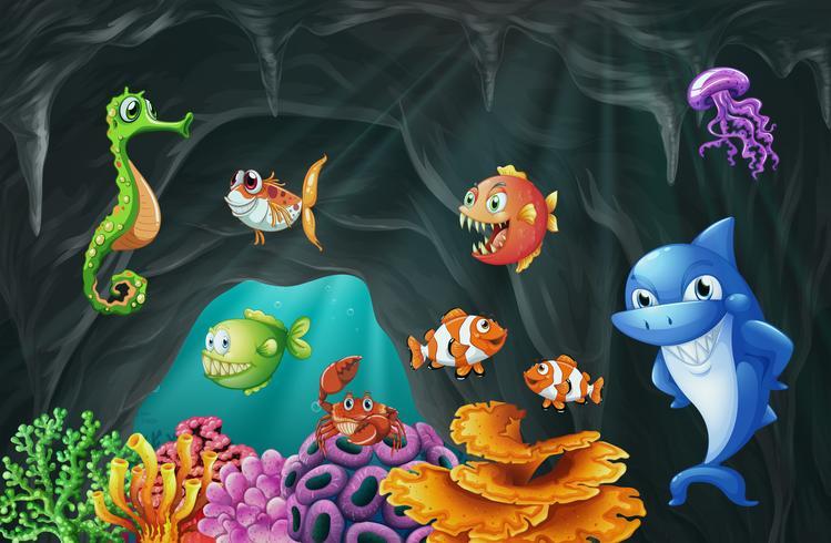 Scène avec des animaux marins sous l'eau vecteur