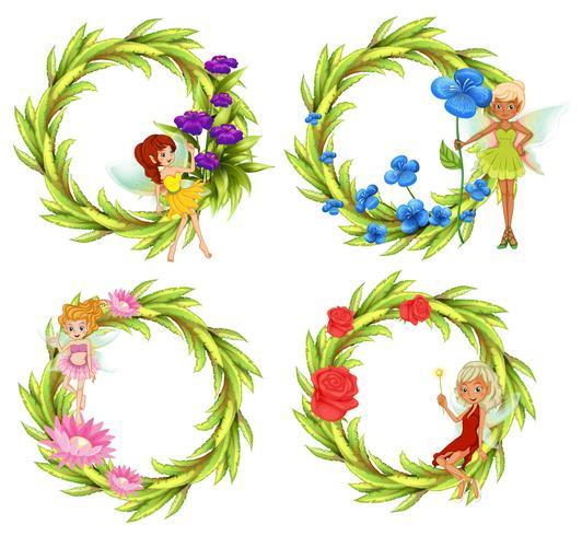 Fate che volano intorno al bouguet di fiori