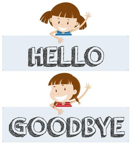 Meisjes zeggen hallo en tot ziens