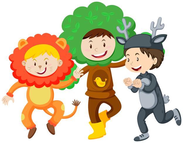 Drie kinderen in kostuums