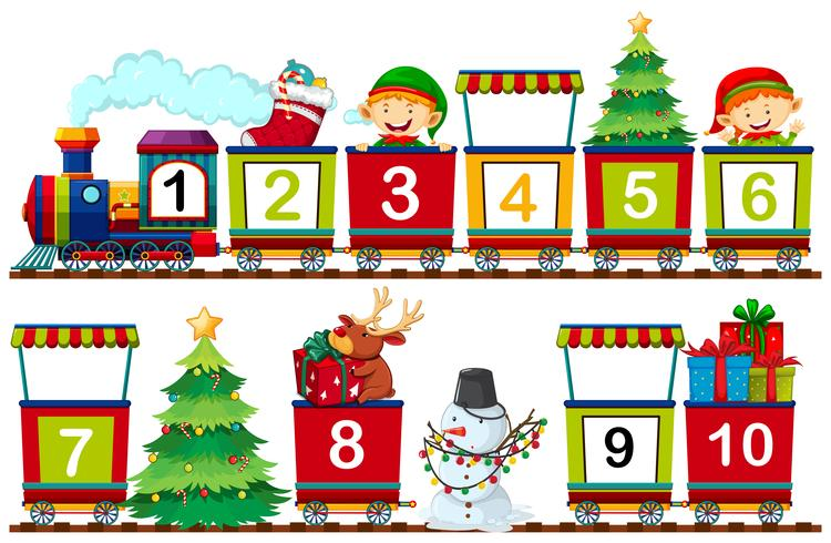 Set van Kerstmis nummer op trein
