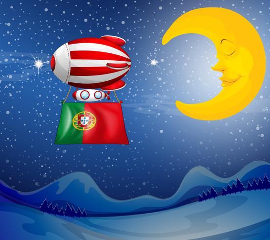 Un globo flotante con la bandera de portugal. vector