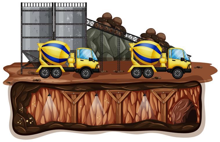 Il mio paesaggio e camion giallo vettore