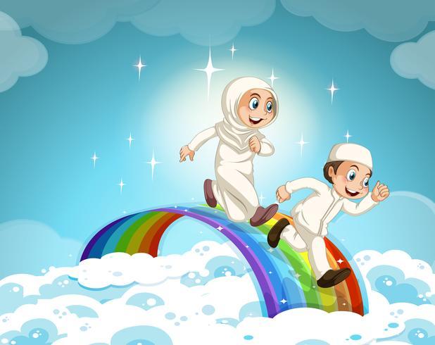 Moslemische Paare, die über den Regenbogen laufen vektor