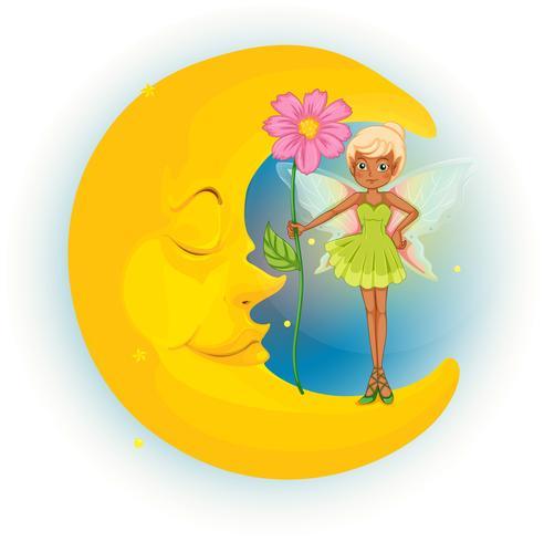 Un hada sosteniendo una flor y una luna durmiendo. vector