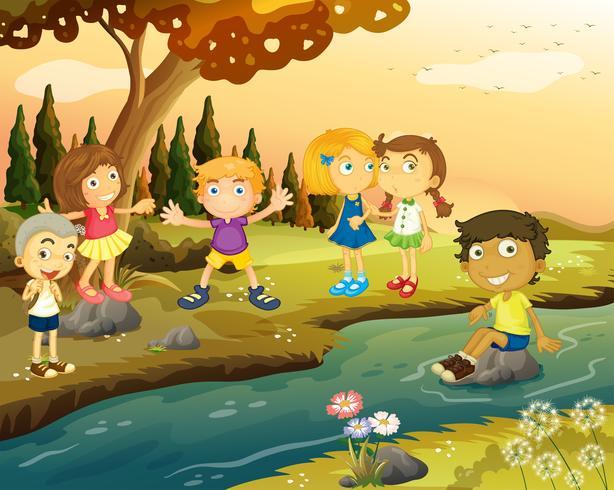 Garçons et filles au bord de la rivière vecteur