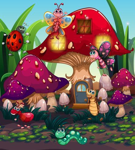 Différents insectes vivant dans la maison aux champignons vecteur