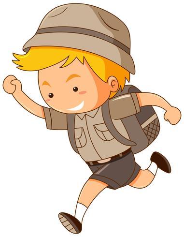 Boy in safari costume running